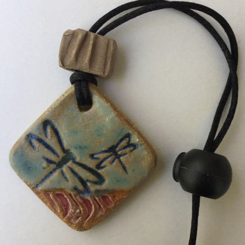 Dragonfly Car Rear View Essential Oil Ornament Pottery Clay Terracotta Aromatherapy