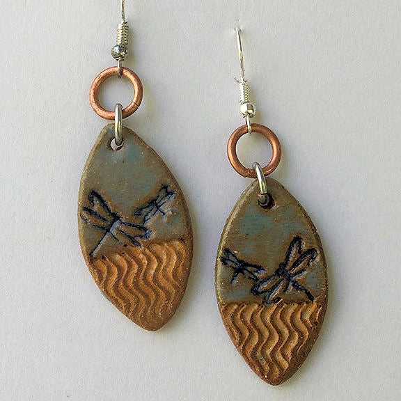 Dragonfly Earrings hand-made stoneware beads