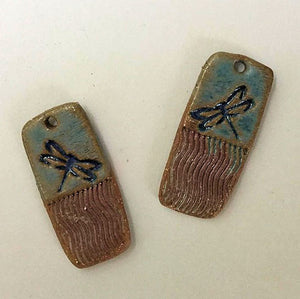 Dragonfly Earring Beads Rectangle - set of two