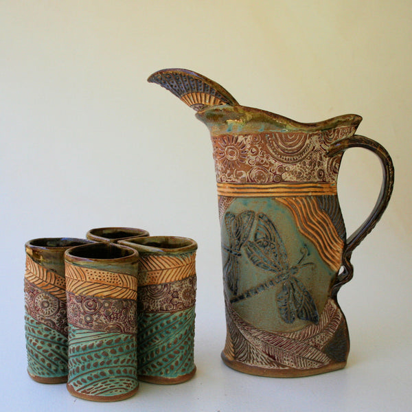 Dragonfly Pitcher Set with Four Tumblers, Pottery, Dishwasher Safe, Pottery, Ceramics