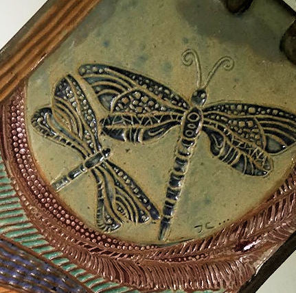 Dragonfly Rectangle Platter , Dish, Pottery, Clay, Hand made, Hand Built Textural Tray
