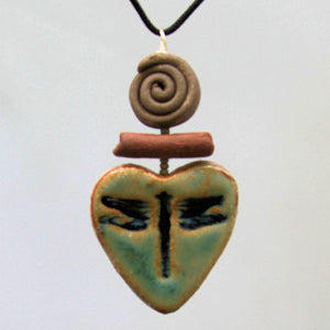 Dragonfly Heart Shaped oil diffuser clay pendant