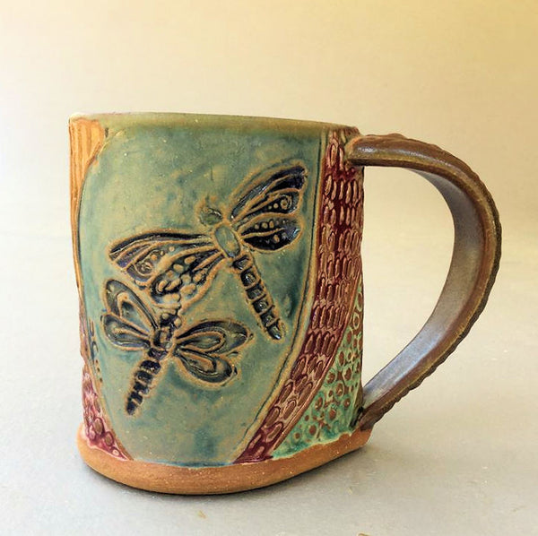 Dragonfly Mug Handmade Pottery Dragonfly Mug Clay Coffee Cup 12 oz