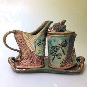 Dragonfly Cream and Set Pottery Handmade Functional Tableware