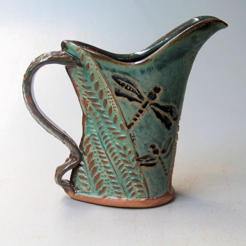 Dragonfly Pottery Pitcher Microwave and Dishwasher Safe Tableware