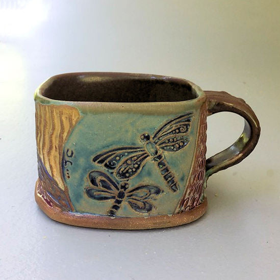 Dragonfly Soup Mug Hand Built Stoneware Microwave and Dishwasher Safe