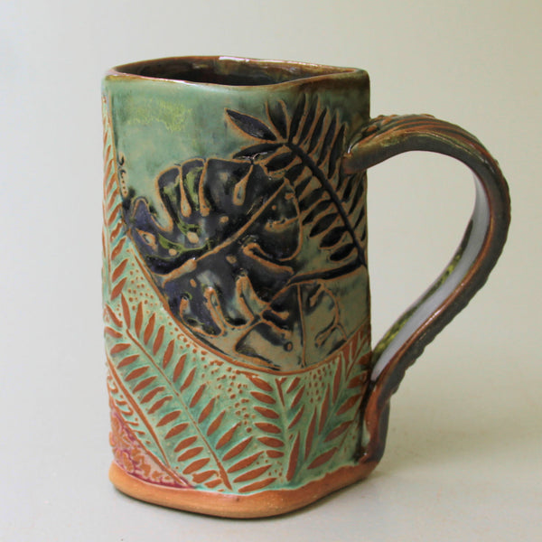 Tropical Foliage Pottery Mug Selloum Philodendron Coffee Cup Fern Handmade 16 oz