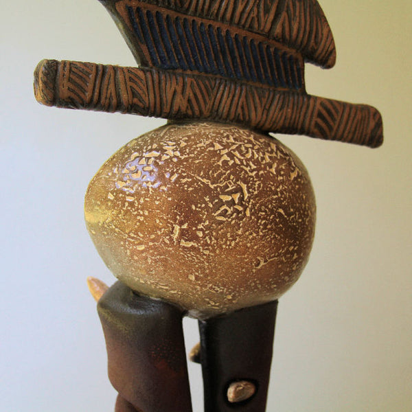 First Born - Abstract Sculpture of Egg on Two Stilts by Helene Fielder