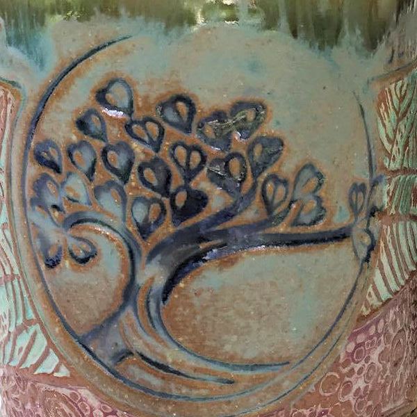 Tree of Life Pottery Mug Coffee Cup Handmade Textural Design Functional Tableware  12 oz