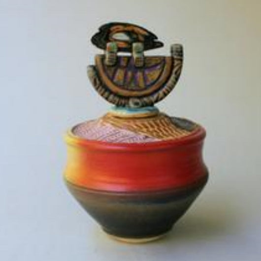 Lidded Pottery Vessel by Helene Fielder