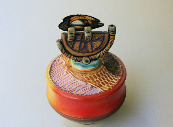 Lidded Pottery Vessel with Agate Lid Hand Made Textural Stoneware Gift