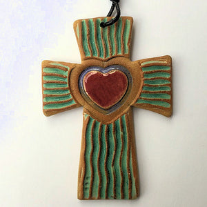 Cross with Heart Christmas Ornament