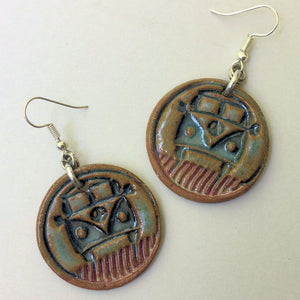 Hippie Bus Earrings hand-made pottery beads
