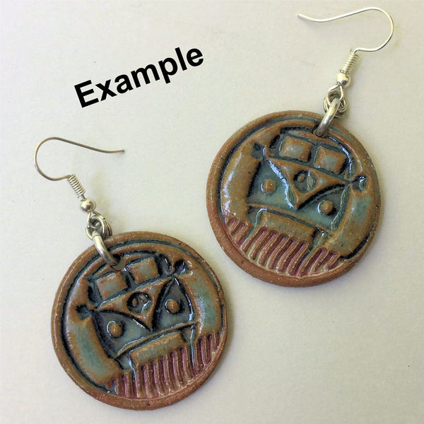 Hippie Bus Earring Beads Round - set of two