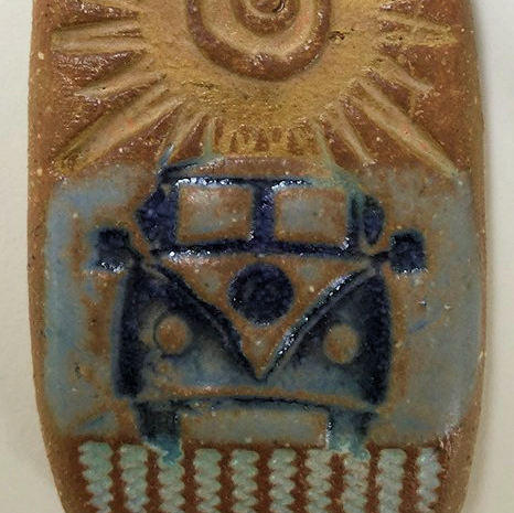 Hippie Bus Rearview Mirror Deodorizer Pendant Rectangular - Essential Oil Beads