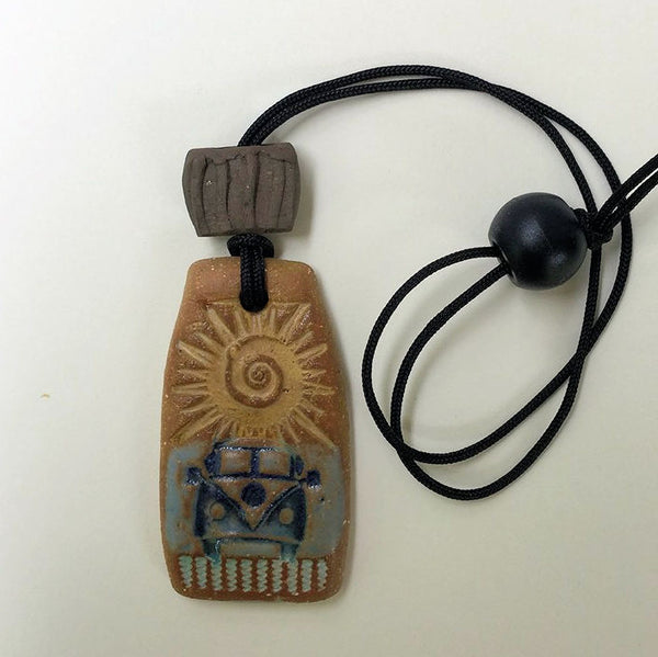 Hippie Bus Pendant Necklace Oil Diffuser Rectangular w oil bead
