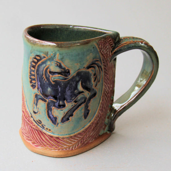 Horse Mug Black Horse Handmade Pottery Clay Coffee Cup 12 oz