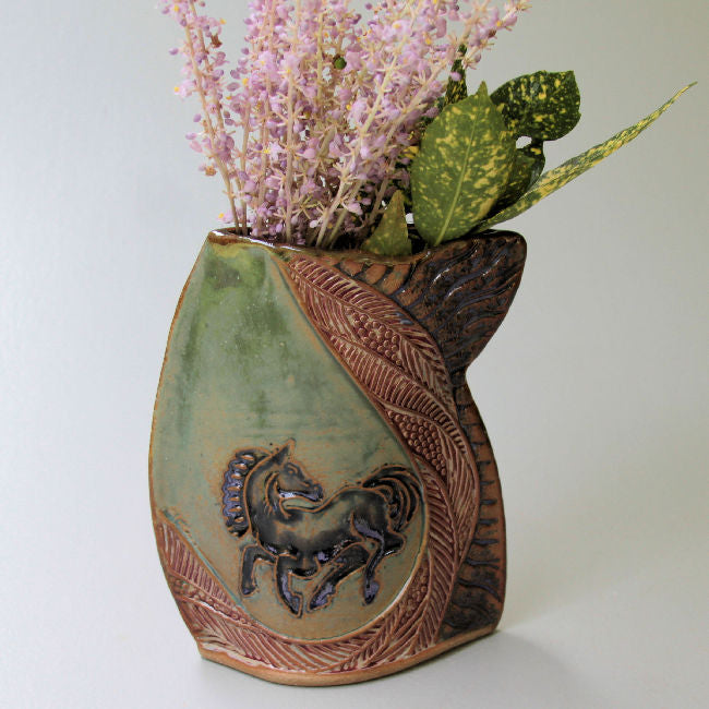 Black Horse Vase High Fired Clay Vase Bumblebee Pottery