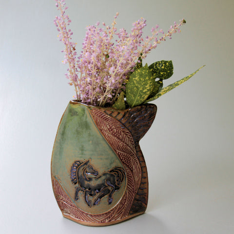Black Horse Vase  High Fired Clay Vase