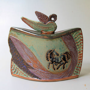 Horse Nature Vessel Pottery Handmade with Lid