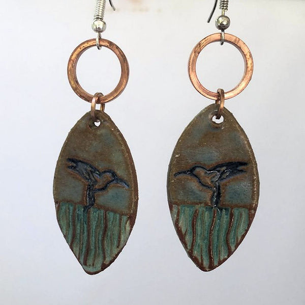 Hummingbird Earrings hand-made pottery beads