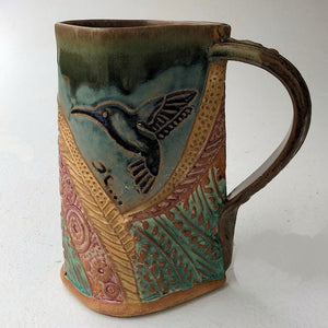 Hummingbird Pottery Mug Coffee Cup Handmade Functional Tableware 16 oz