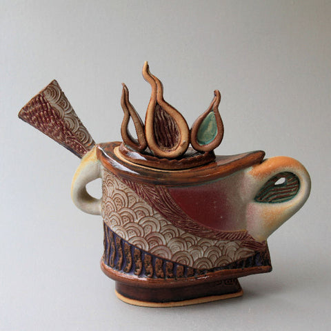The King - Sculptural Teapot by Helene Fielder