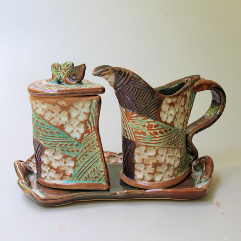 Cream and Sugar Set dogwood Design Pottery Handmade Functional Tableware