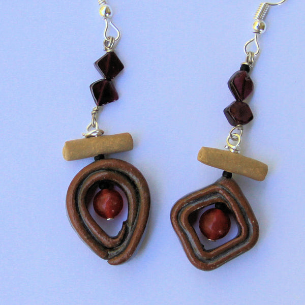 Hand Made Pottery Bead Carnelian and garnet earings by Helene Fielder