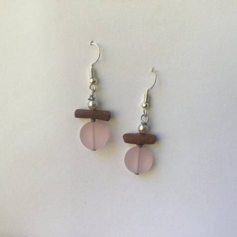 Pink Seaglass Earrings with hand-made stoneware beads. Surgical steel ear-wire, frosted glass and shell beads