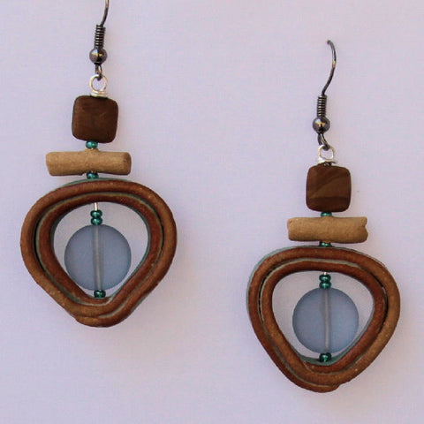 High fired handmade stoneware beads with sea glass and agate beads.