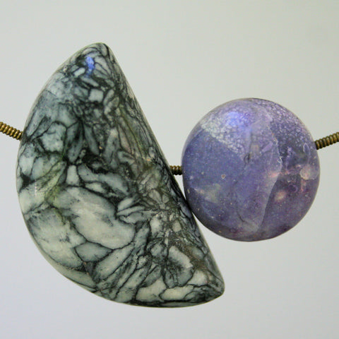 Morado Opal, Printstone, Pinolith and Ruby in Fuchsite Bead Necklace