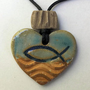 Ichthys Symbol Heart Shaped Essential oil diffuser clay pendant necklace