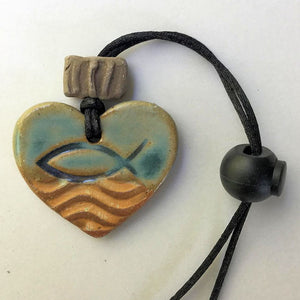Ichthys Symbol Heart Shaped Automobile oil diffuser clay pendant