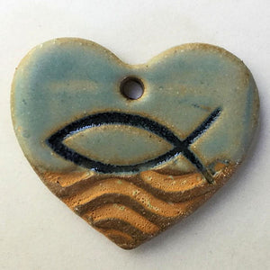 Ichthys Symbol Focal Bead Heart Shape
