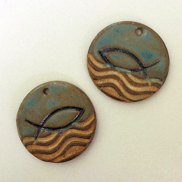 Ichthys Symbol Earring Beads - set of two