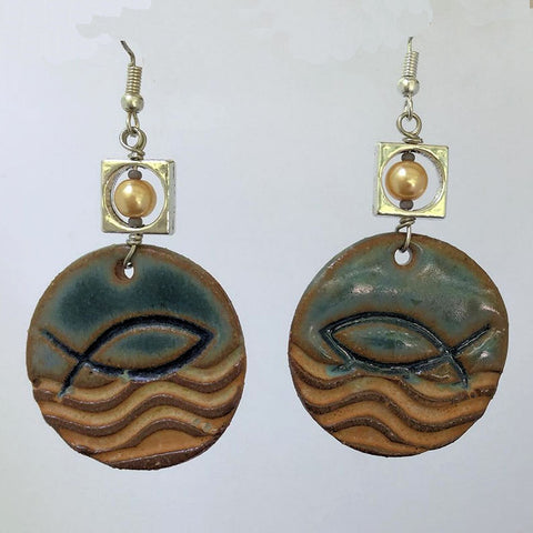 Ichthys Symbol Earrings hand-made stoneware beads