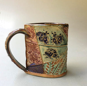 Ladybug Pottery Mug Coffee Cup Handmade Functional Tableware  12 oz