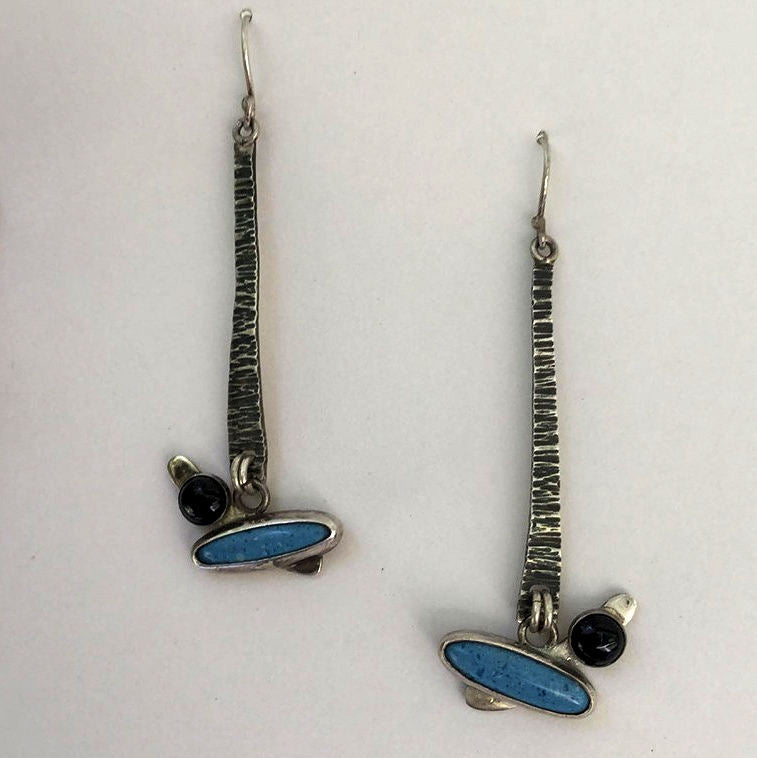Denim Lapiz and Black Onyx Sterling Silver Earrings