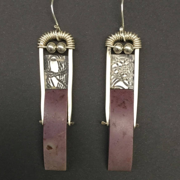 Lavendar/Purple Turkish Jade Sterling Silver Earrings