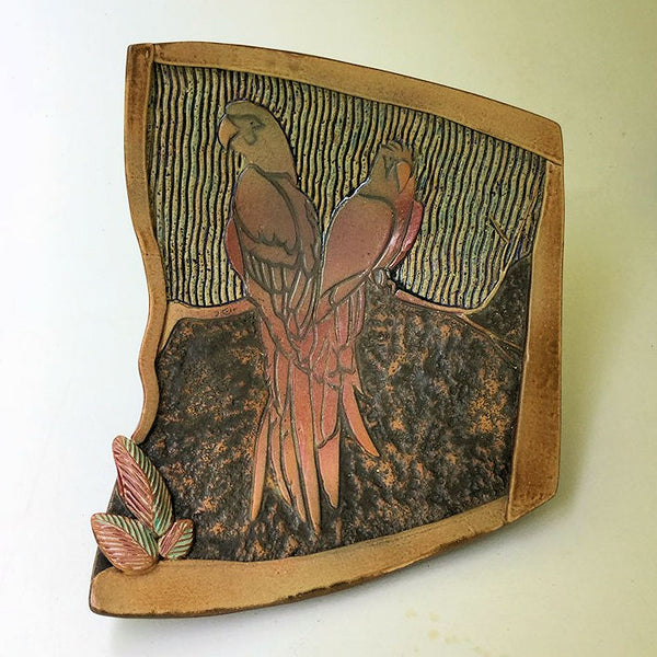 Macaw Tropical Bird Pottery Platter