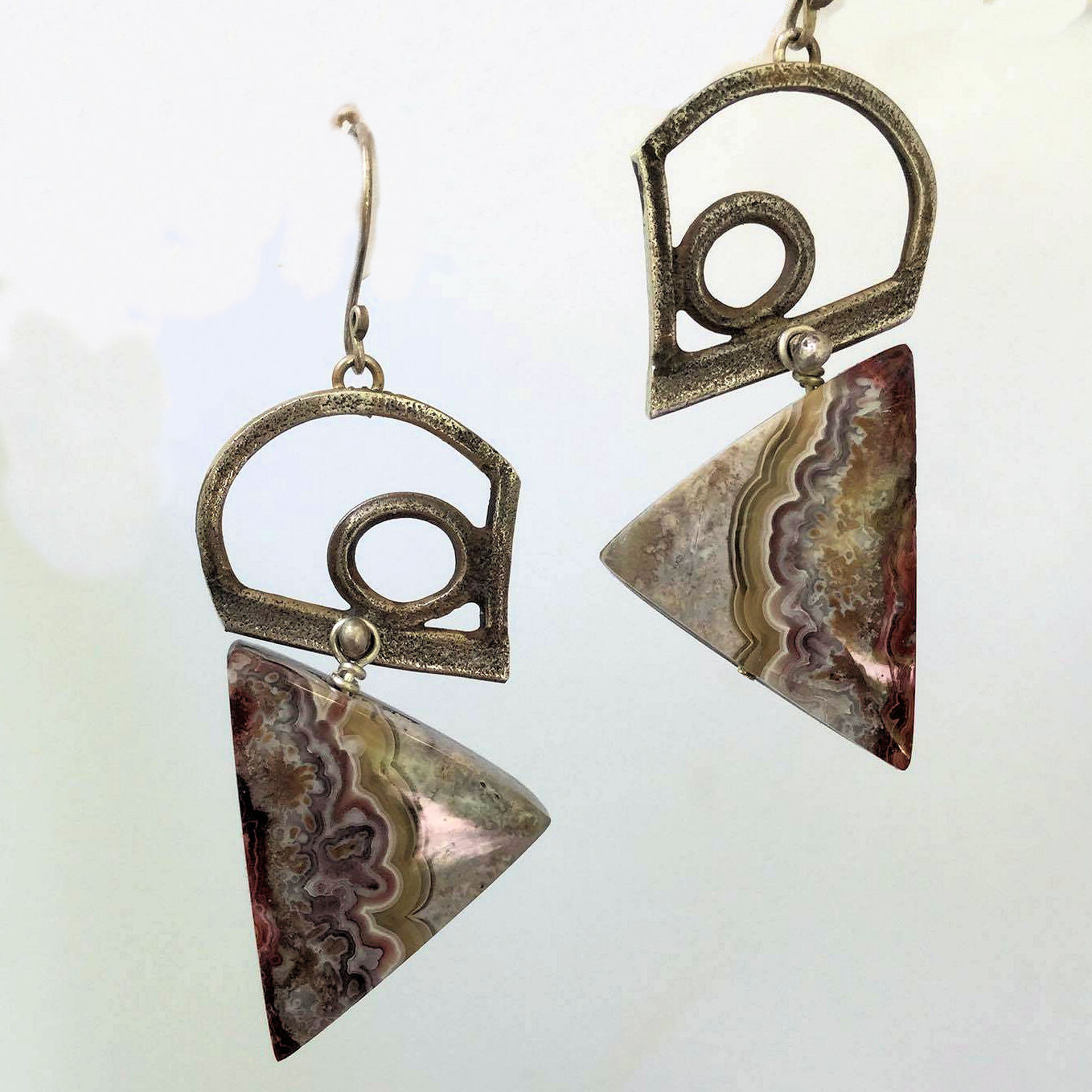 Mexican Crazy Lace Agate and Sterling Silver Earrings