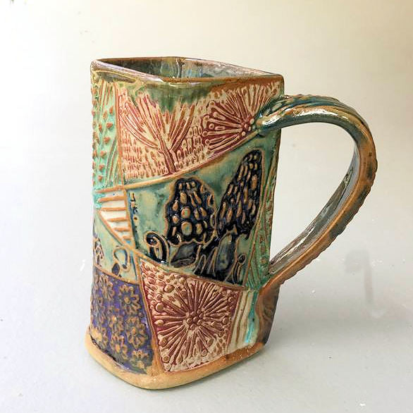 Morel Mushroom Pottery Mug Coffee Cup Handmade Textural Design Functional Tableware 16 oz