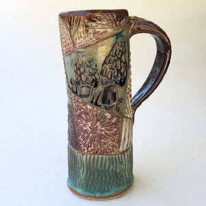 Morel Mushroom Travel Mug Pottery Mug Coffee Cup Hand-Made Microwave and Dishwasher Safe