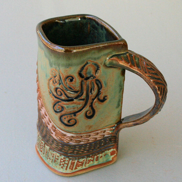 Octopus Pottery Mug Coffee Cup Handmade Functional Tableware 16 oz