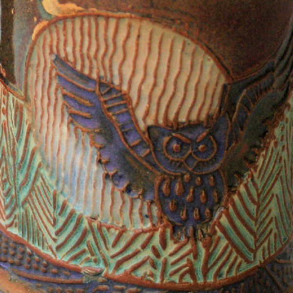 Owl in Moonlight Mug Pottery Handmade Pottery Owl Mug Clay Coffee  Cup 12 oz