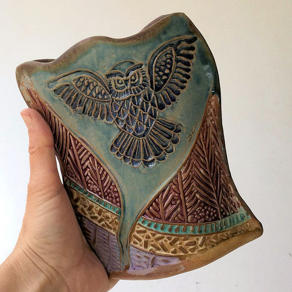 Owl Pottery Flower Vase Hand Made Clay Flower Holder