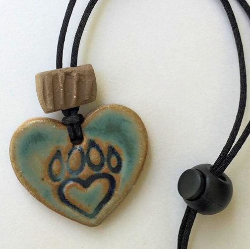 Paw print Heart Shaped Rear View Mirror oil diffuser clay pendant