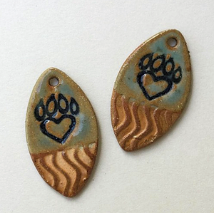 Paw Print Earring Beads Marque - set of two
