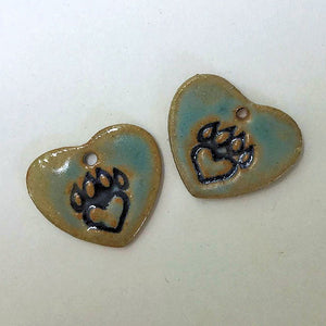 Paw Print Earring Heart Shape Beads - set of two